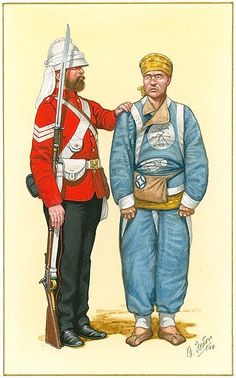 Sergeant 2nd Queen's  with prisonner Taku forts China 1860