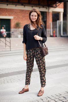 Stockholm Streetstyle. cropped sweater on floral jumpsuit and monk shoes.