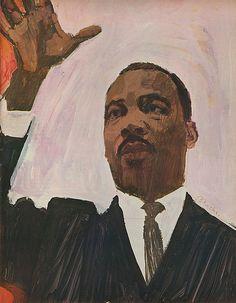 Bernie Fuchs illustration of Martin Luther King Jr. Fuchs Illustration, Magazine Illustration, American Illustration, Retro Illustration, Vintage Illustrations, Digital Illustration, Dojo, Look Magazine, Art Walk