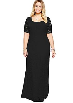 00dd0f8082e61b Plus Size Women Maxi Long Dresses Elegant Lace Patckwork Evening Party  Banquet Vestidos Short Sleeve Floor Summer Women Dresses