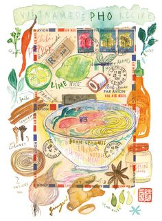 Lucille Prache  Lucileskitchen (Kitchen decor Pho recipe Gourmet illustration Food poster 8X10 print Watercolor wall hanging Travel journal decor Asian Vietnam cooking. $25.00, via Etsy.)