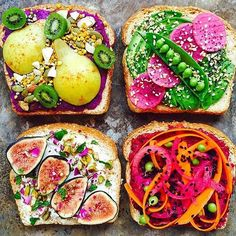 Toast with toppings via // (spiced purple sweet potato + pear + kiwi berry + pumpkin seed + shaved almonds + bee pollen +… Kiwi Berries, Purple Sweet Potatoes, Clean Eating Snacks, Love Food, Food Inspiration, Tapas, Catering, Vegan Recipes, Juicer Recipes