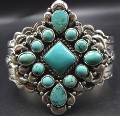 Vintage NAVAJO Hand Stamped Sterling Silver TURQUOISE Cluster Cuff BRACELET 62g #Cuff