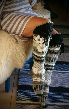 Bas long au dessus du genou Leg Warmers, Crochet, Slippers, Legs, Flower, Fashion, Winter, Slipper, Boss
