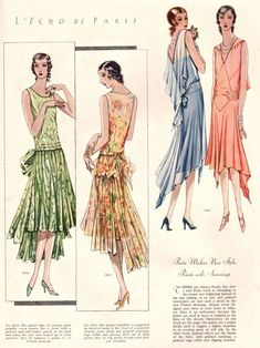 1929 fashions, the dress on the gar right with triangular center piece with side dart tucks on the hips