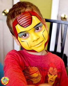 "Iron Man face painting by Lenore Koppelman aka ""The Cheeky Chipmunk"" in NYC Superhero Face Painting, Face Painting For Boys, Face Painting Designs, Paint Designs, Body Painting, Iron Man Face Paint, Mime Face Paint, Tinta Facial, Belly Painting"