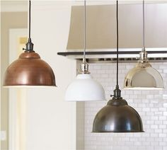 Remodeling Kitchen Lighting PB Classic Pendant - Metal Bell COPPER LIGHTING above kitchen island - Add industrial appeal to spaces big and small with our versatile Metal Bell Pendant, and customize it to suit your style. Kitchen Lighting Over Table, Kitchen Island Lighting, Kitchen Lighting Fixtures, Kitchen Pendant Lighting, Kitchen Pendants, Pendant Light Fixtures, Island Pendants, Hanging Kitchen Lights, Copper Hanging Lights