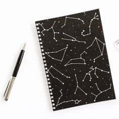 Darwin Designs Constellation Spiral A5 Notebook ($8.83) ❤ liked on Polyvore featuring home, home decor, stationery and fillers