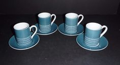 Set of 4 Vtg Mid Century Espresso Demitasse Cups Saucers Harmony House 4777 Blue #HarmonyHouse