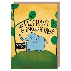 Card dimensions: 105 x Packed in a cellophane bag with a brown fleck envelope. Buy 2 get 1 free on all cards! Good Luck New Job, New Job Congratulations, Good Luck Cards, Pick And Mix, Cellophane Bags, Blank Cards, One Pic, Encouragement, Elephant