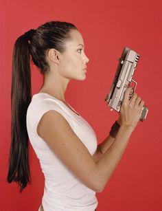 Braided ponytail on Lara Croft (Angelina Jolie)