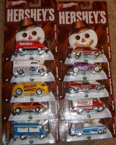 2011 Hot Wheels Nostalgia - HERSHEY'S Set of 10 1:64 Scale Diecast Vehicles with Real Riders Tires by Mattel. $112.60. Real Riders. Metal/Metal. 1:64 Scale. Diecast. This assortment captures iconic art from classic nostalgic brands such as DC Comics, HANNA-BARBERA, Hershey's®, the Saturday Evening Post and more! With die-cast bodies, die-cast chassis and Real Riders® tires, these vehicles transport adult collectors back to a time when they didn't have a care i...