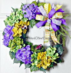 A personal favorite from my Etsy shop https://www.etsy.com/listing/462031279/summer-hydrangea-wreath-outdoor-purple