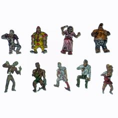 Nine mini zombies     Tallest figure about 1.5 inches tall     Great addition to any miniatures collection