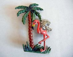 Vintage 1940's Pink Flamingo Palm Tree by Planetclairevintage, $26.00