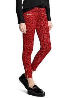 MANGO Pantalon cigarette imprimé léopard