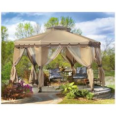 37 Stunning Gazebo Decorating To Make Your Backyard. Install an outdoor gazebo and revel in your backyard like you can't ever have before. If you think that your backyard is too open to curious onlookers. Hot Tub Gazebo, Gazebo Canopy, Backyard Gazebo, Garden Canopy, Screened Canopy, Gazebo Curtains, Screened Patio, Outdoor Gazebos, Outdoor Gardens
