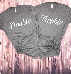 Double trouble bestie shirts On our shop! - Bestfriend Shirts - Ideas of Bestfriend Shirts - Double trouble bestie shirts On our shop! Best Friend Matching Shirts, Best Friend T Shirts, Best Friend Outfits, Best Friend Clothes, Friends Shirts, Bff Shirts, Cute Shirts, Bff Goals, Best Friend Goals