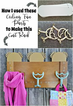 This coat rack was made using ceiling fan blades and brackets. It's a great … This coat rack was made using ceiling fan blades and brackets. It's a great repurpose of old items into a new use. Repurposed Ceiling Fan Parts Coat Rack Pin: 236 x 343 Ceiling Fan Parts, Ceiling Fan Blades, Ceiling Fans, Ceiling Fan Bracket, Painted Fan Blades, Fan Blade Art, Ceiling Fan Makeover, Old Fan, Garment Racks