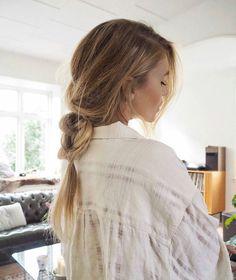 Loose, messy braid for long hair.