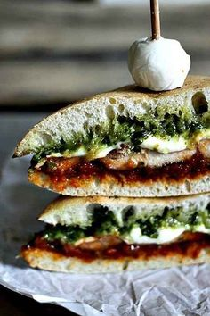 Mozzarella, Pesto, and Sundried Tomato Paste Sandwich