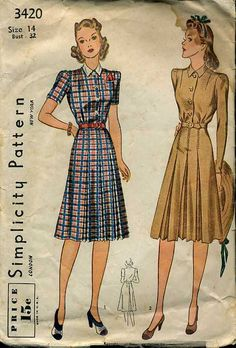 vintage 1940s fashion pattern: Simplicity 3420 (1940) collared dress with swing skirt