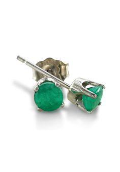 14k White Gold Emerald Stud Earrings