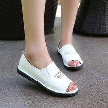 Été nouveau single chaussures femmes chaussures, Cuir décontractée fond mou pois blanc chaussures bouche de poisson plat paresseux chaussures dames sandales(China (Mainland))
