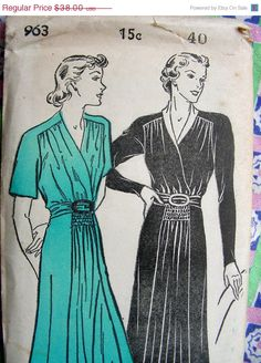 On SALE 1930's New York Dress Pattern 963    GORGEOUS by anne8865