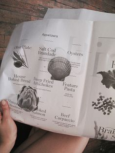 Menu for Smith restaurant, designed by Tracy Ma