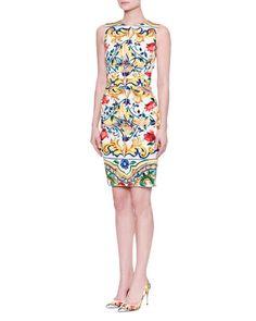 2d4ab8a67e950 DOLCE   GABBANA Maiolica Tile-Print Ruched-Waist Dress