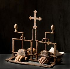 This diabolical hand crushing torture machine was used in the 'Inquisition,' circa 1478 -1834.