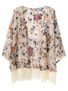 Choies Women's Chiffon Vintage Shawl Floral Kimono Coat Cardigan With Tassel at Amazon Women's Clothing store: