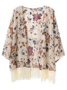 Choies Women's Chiffon Vintage Shawl Floral Kimono Coat Cardigan With Tassel at Amazon Women's Clothing store: