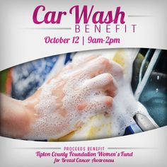 Join us on October 12 for our Breast Cancer Awareness Car Wash Benefit!   Our employees will wash your car, and your donations will benefit the Tipton County Foundation Women's Fund for Breast Cancer Awareness. The money will be used on mammograms for those who can't afford it.