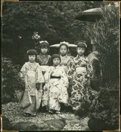 Small girls dressed up for the Bommatsuri festival, Japan.Part of a collection which belonged to journalist Holger Rosenberg.
