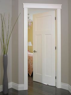 Moulding and white doors with gray