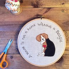 Dog embroidery hoop art - Beagle 'a house is not a home'- beagle dog lover gift - 7 inch hoop art by BeaglenThread on Etsy https://www.etsy.com/listing/232828415/dog-embroidery-hoop-art-beagle-a-house