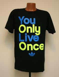 Adidas Originals 'You Only Live Once' Black Blue Neon Cool Graphic T Shirt Mens | eBay