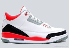 check out dfd19 5d8bb authentic Air Jordan Retro 3 White Fire Red-Neutral Grey-Black for sale  online,buy ne air jordan 3 shoes with high quality.