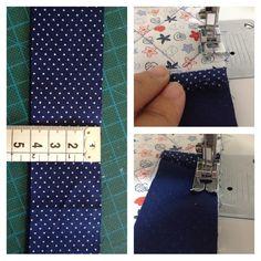 Para o acabamento com debrum ou falso viés, cortar uma faixa de 4x150cm. Observe a foto, fiz uma dobra no início, não costurar do início, dar um espaço de um centímetro e começar a costura.
