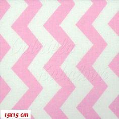 Látka, plátno - Cik-cak růžová bílá, šíře 160 cm, 10 cm
