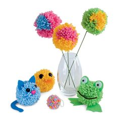Pom-pom Party - Follow our directions for making a pom-pom using yarn and a couple of plastic lids, and you'll quickly have plenty of pom-poms to use in the projects shown here.  **For more birthday party craft ideas visit http://www.partycanada.blogspot.com