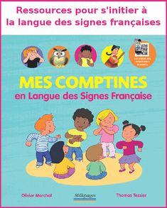 """À la découverte de la langue des signes française. """"Mes comptines en Langues des Signes Française"""" peut être utilisé par les parents/enseignants qui n'y connaissent rien (comme moi). Sur une double page est présentée une comptine, plus ou moins longue, avec les paroles, une illustration et en dessous les différents signes dans l'ordre qu'ils doivent être utilisés."""