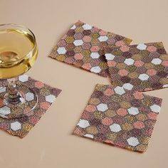 Honeycomb Beaded Coasters (Set of 4) #westelm