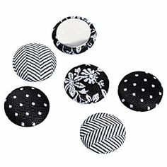 See Jane Work® Magnets, Fabric, Black, Pack Of 6