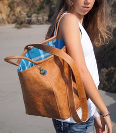 Ledertasche Tasche Naturleder Dye Baumwolle von elisabethleroy1