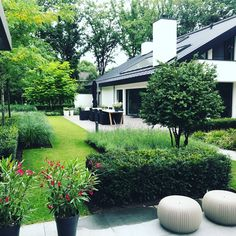 Modern home with a green garden. Outdoor furniture from Borek. - All For Garden Mailbox Landscaping, Garden Landscaping, Back Gardens, Outdoor Gardens, Garden Paths, Garden Tools, Vegetable Garden For Beginners, Minimalist Garden, Cottage Garden Design