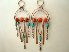 Boho Earrings - Bohemian Jewelry - Art Deco Jewellery - Statement Earrings - Red Earrings - Tribal - Turquoise Jewellery - Big Earrings