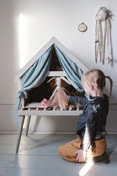 This past 3 day weekend we took some time to work on a few projects and I decided to finally transform our vintage doll house into a doll's stage. We're happy with how it turned out and… Kids Room Accessories, Fashion Accessories, Vintage Kids Fashion, Doll Shop, New Dolls, Diy Dollhouse, Kid Spaces, Kidsroom, Kids Decor
